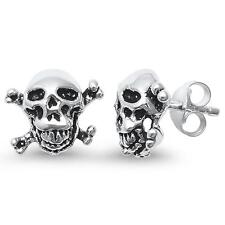 Plain Skull & Bones .925 Sterling Silver Earrings