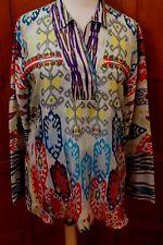 Johnny Was 3J Workshop biya  Print Silk Tunic Blouse Top M