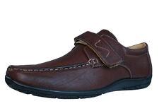 Scarpe da uomo mocassini marrone con velcro