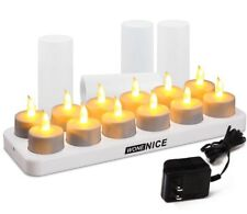 LED Rechargeable Amber Flameless Tea Light Candle (12 set)