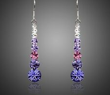 New Genuine Austria Crystals Drop Dangle Sparkly Shiny Purple Earrings Jewellery