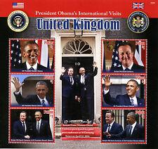 Palau 2016 MNH US President Barack Obama Visits UK 6v M/S David Cameron Stamps