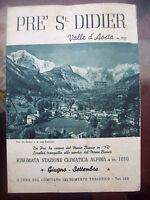 1940 109) PIEGHEVOLE PUBBLICITARIO ILLUSTRATO DI PRE' SAINT DIDIER VALLE D'AOSTA
