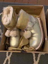 UGG Girls GITA Boots with Pom Pom Size 4 Gold Metallic