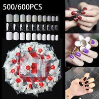 500/600x Short Nail Salon Full Cover False French Manicure Tips Fake Nails New