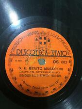 S.E.BENITO MUSSOLINI CAPO DEL GOVERNO FASCISTA DISCORSO RARE 78 RPM RECORD VG+