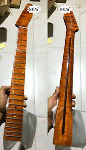 Tiger Flame Maple Guitar Neck 21 fret 25.5inch Glossy Yellow Pearl Dot Inlay