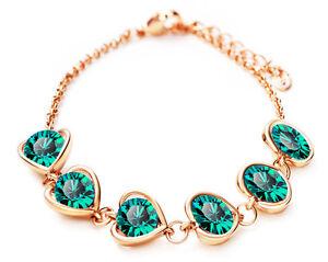 Heart Charms Rhinestones Bracelet Gold Tone Stone Crystal Emerald Green BB139