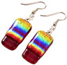 """Dichroic Glass Earrings Red Rainbow Tie Dye Striped 1"""" Dangle Surgical Wire"""