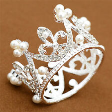 Wedding Bridal Crown Jewelry Pearl Queen Princess Crown Crystal Hair Access CL