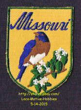 LMH PATCH Badge   MISSOURI  State Bird BLUEBIRD  Flower HAWTHORN  yellow 2-3/4""