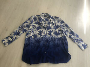 M&s Collection White & Blue Palm Leaf Print Long Sleeve Shirt Sz 18 - 100% Cotto