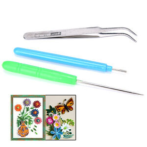 3pcs Paper Set Quilling Paper Tools Tweezer Needle Pins Slotted Pen Tool Kit ^qi