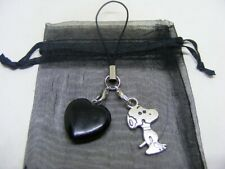 Natural Black Obsidian Heart & Snoopy Mobile Phone / Handbag Charm