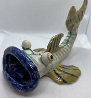 Vintage Studio Art Pottery Wide Mouth Big Eyes Painted Large Fish Figurine