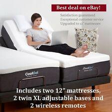 """Adjustable SPLIT KING Electric Bed Frame Bases AND 12"""" MATTRESSES Remote Medical"""