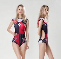 Harley Quinn Cosplay Swimsuit Sexy Backless Sukumizu Women's One Piece Swimwear