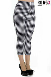 Hell Bunny Judy Checked 50s Vintage Capri Trousers 3/4 Length Pedal Pushers