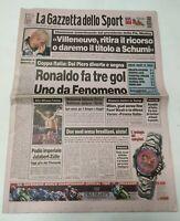 GAZZETTA DELLO SPORT 16 OTTOBRE 1997 COPPA ITALIA QUARTI TRIPLETTA RONALDO INTER