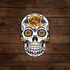 White Sugar Skull with Yellow Flower (Sugar Skull) Decal/Sticker