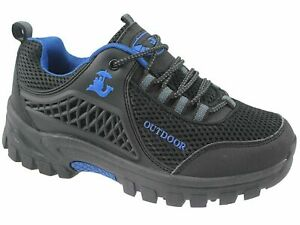 new mens BLACK  rugged Lace Up Trail Walking Hiking Trainers SHOES  size 10/45