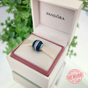 PANDORA Silver Midnight Blue Orbit Charm - 796377EN63