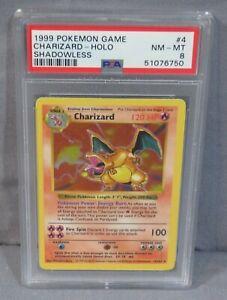 "Pokemon ""CHARIZARD"" Shadowless Holo 4/102 PSA 8 NM-MT Base Set 1999"