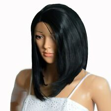 NWT ICENEL Medium Short Straight 12 inch Synthetic LaceFront Wig Jet Black 1 008