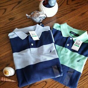 ⛵NAUTICA Polo Striped Shirts L - NWT (Lot of 2) Navy/Light Blue & Green/Navy