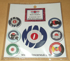 Generic Mod Icon 6 Button Badge Set, mod, scooterists