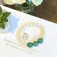 White Baroque Freshwater Pearl Bracelet, Green Stone Accent