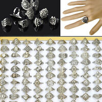 10 Pcs Wholesale Lots Jewelry Mixed Style Tibet Silver Vintage Rings Band Ring