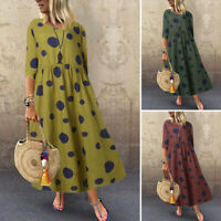 ZANZEA Womens 3/4 Sleeve Long Shirt Dress Vintage Polka Dot Kaftan Midi Dresses