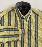 Robert Graham Mens Long Sleeve Shirt Size L Cotton Silk