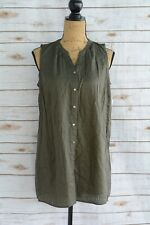 NWT Liz Lange Maternity - Green striped sleeveless BUTTON front shirt, size S