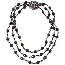 Miriam Haskell Pastel Rhinestones & Black Beaded Necklace Three Strands VTG