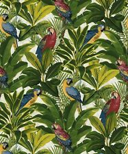 Tropical Forest Parrots Birds. Grandeco Exotic Red Wallpaper A11502