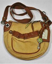 FOSSIL ORIGINAL BAG TRAVEL ID TAG CROSSBODY CANVAS HANDBAG LEATHER TRIM TAN