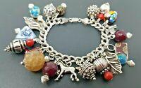 """Vintage Sterling Silver 925 Natural stones Loaded Charm Bracelet 6"""""""