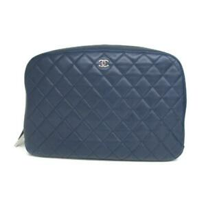 Authentic CHANEL Matelasse zipped pouch logo lamb skin Navy Used CC coco