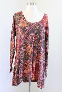 Soft Surroundings Alisanna Floral Printed Sharkbite Tunic Top Blouse Size XL