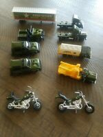 LOT/10  PLASTIC   ARMY TOY  VEHICLES, MOTORCYCLES