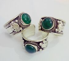 Green Jade Bead Old Tibet Silver Carved Ring Adjustable Religion one ring