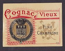 Ancienne étiquette Alcool  BN15463 Cognac vieux  Blason chevalier