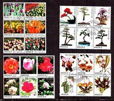 ZYBL C19 ANGOLA:4 blocs de 6T.:fleurs de cultures ,roses,orchidées,tulipes