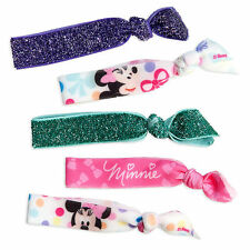 Disney Store Authentic Minnie Mouse Pink Purple Green Girls Hair Tie 5pc Set NEW