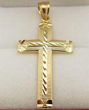 Mens 10k Yellow Gold Cross Pendant Diamond Cut Gold Crucifix Charm