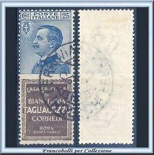1924 Italia Regno Pubblicitari Tagliacozzo cent. 25 azzurro e bruno n. 8 Usato