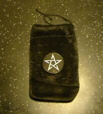 Faux Fur Draw-String Pouch with Pentagram Patch for Tarot Pack or Crystals etc