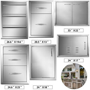 Stainless Steel BBQ Doors / Drawers Outdoor Kitchen Storage Cupboard Grill